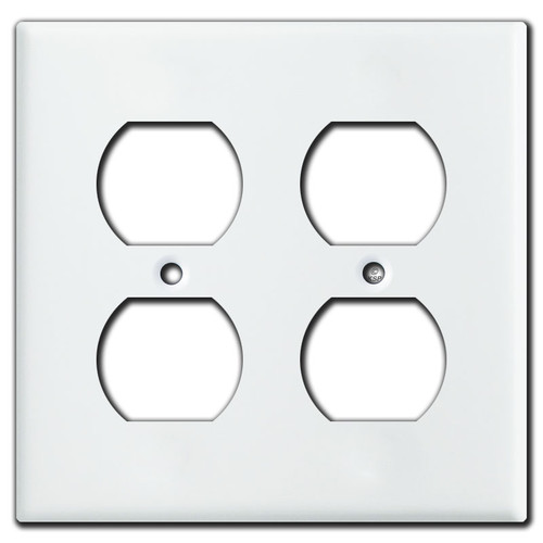 2 Gang Switch Plate for 4 Horizontal Toggle Switches (White)