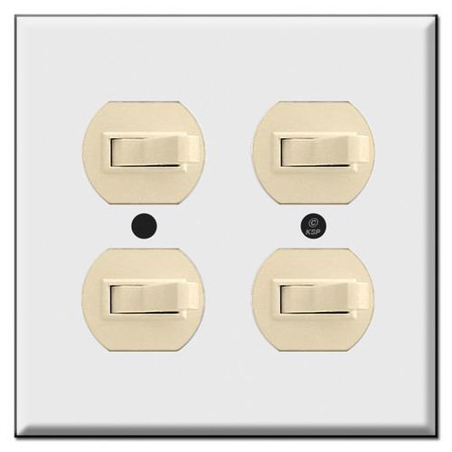 Double Gang 4 Horizontal Toggle Light Switch Plates (switches not included)