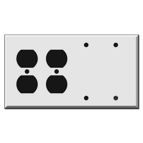 Two Duplex Outlets and Two Blank Combo Wall Switch Plates