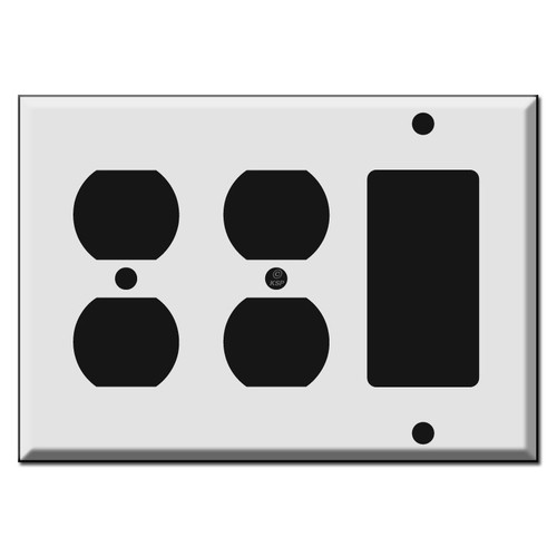 Double Duplex Receptacle - Single Rocker Combo Switch Plates
