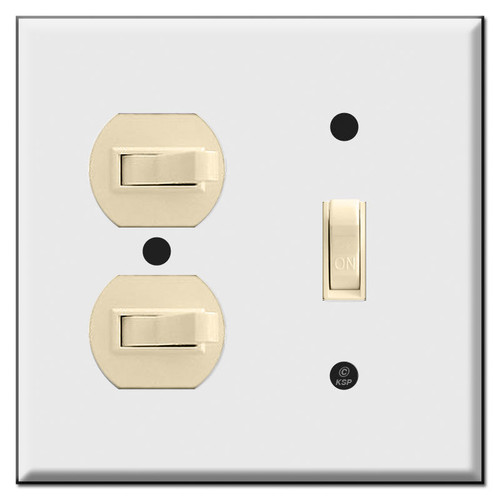 Combo Vertical and Horizontal Toggle Wall Switch Plates for 3 Toggles (switches not included)