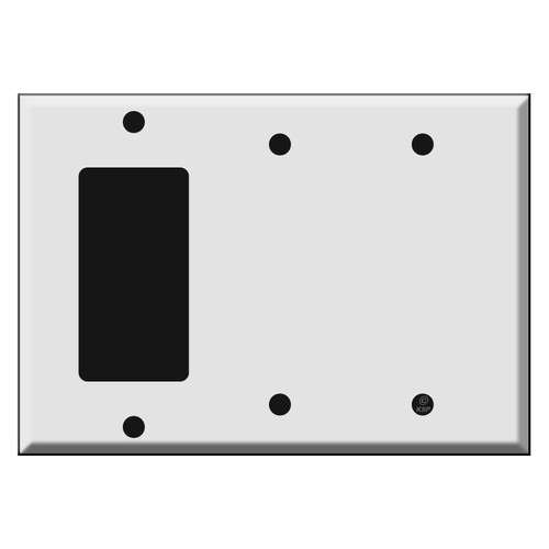 One GFCI Decora Rocker - Two Blank Combination Switch Plate Covers