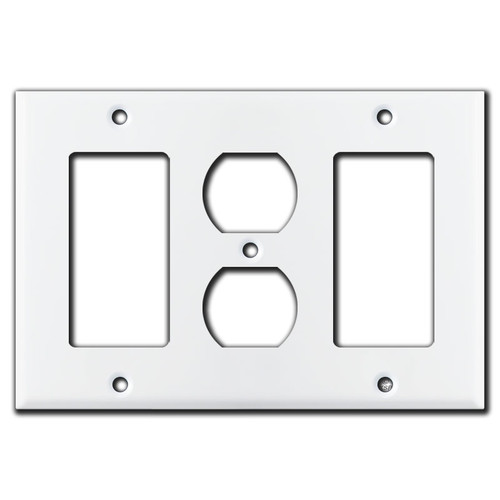 White Rocker Plate with Center Duplex Outlet