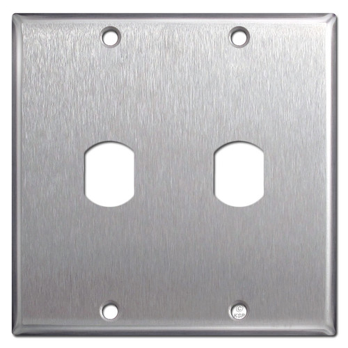 Double Gang Vertical 1 Despard Switch Plate - Satin Stainless Steel
