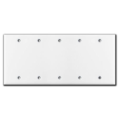 5 Gang Blank Switch Plate Covers - White