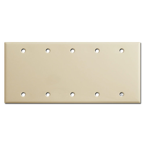 Five Gang Blank Switch Plate Covers - Ivory