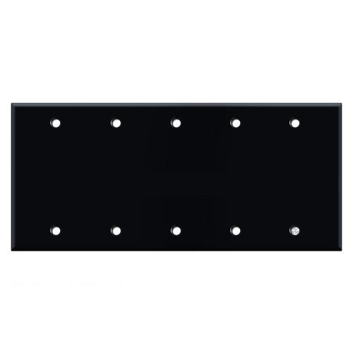 5 Gang Blank Wall Switch Plate - Black