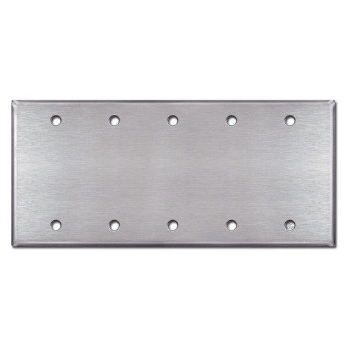 Five Blank Light Switch Plate Cover - Satin Stainless Steel