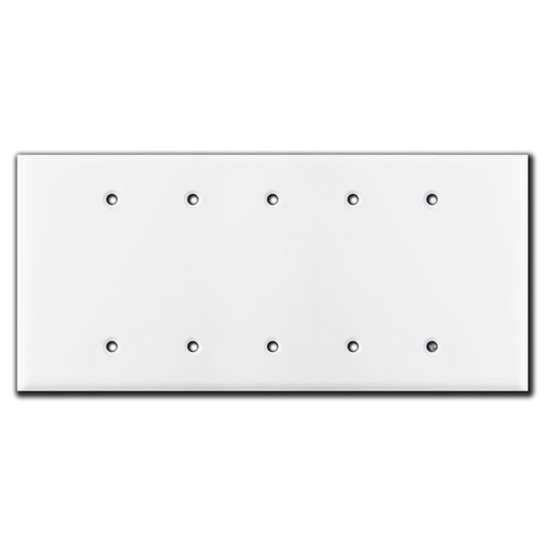Oversized Five Gang 5 Blank Light Switch Plate Cover - White