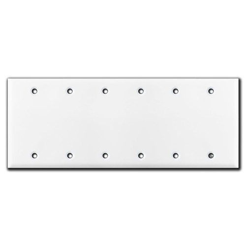 6 Blank Wall Switch Plate Covers - White