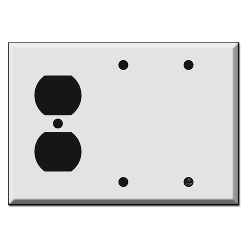 1 Outlet and Two Blank Combo Switch Plate Covers