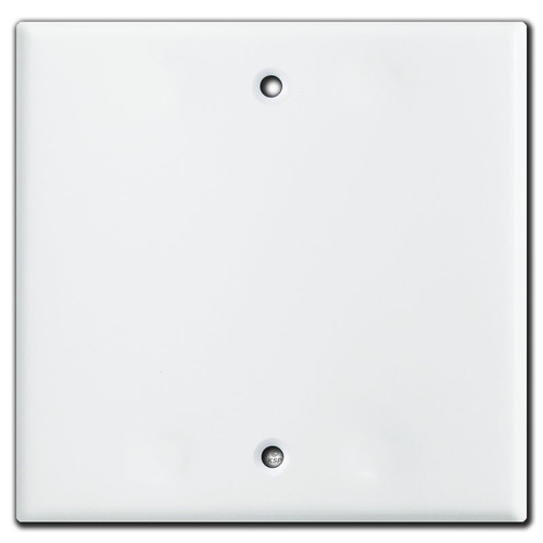 Double Wide 1 Blank Centered Wall Switch Plate - White