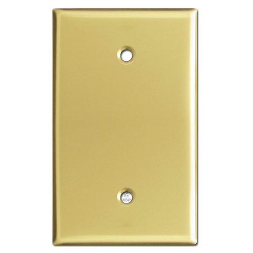 Oversized Single Gang Blank Wall Plate - Polished Brass