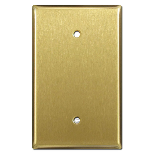 1 Blank Oversized Switch Plate Cover - Satin Brass