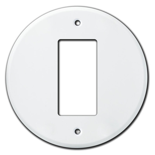 Round Rocker Switch or GFCI Outlet Wall Plates - White
