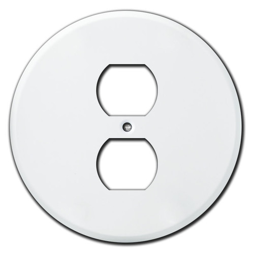 Round Duplex Outlet Cover Wall Plates - White