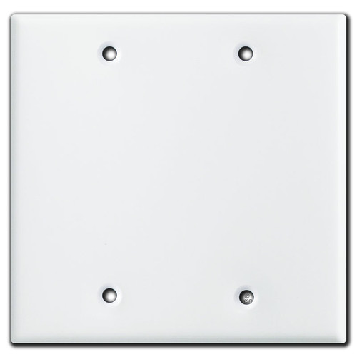 2 Blank Wall Switch Plate Covers - White