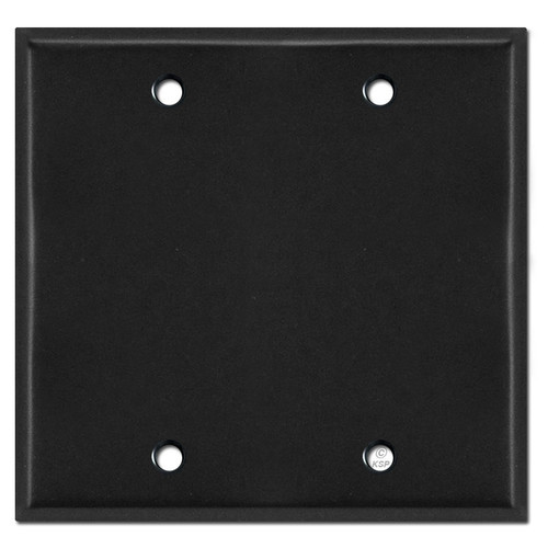 2 Blank Double Wall Plate Cover - Black