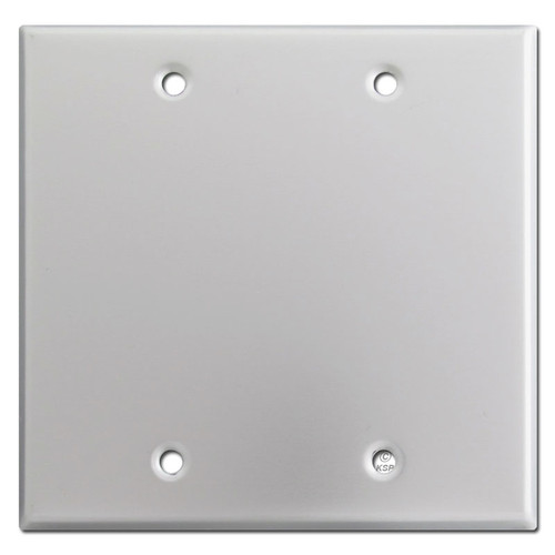 Two Blank Switch Plate Covers - Brushed Aluminum