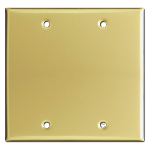 2 Gang Blank Switch Plate - Polished Brass