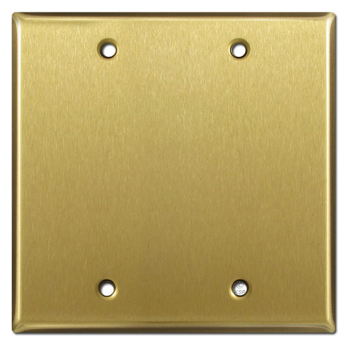 2 Blank Wall Switch Plate Covers - Satin Brass