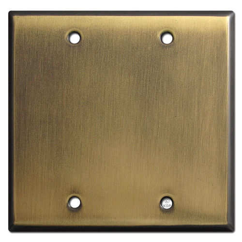 Double Blank Wall Plate Covers - Antique Brass