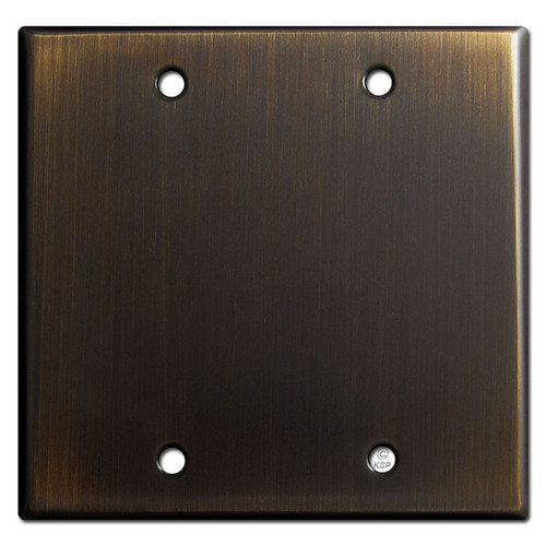 2 Gang Blank Switch Plate Covers - Oil Rubbed Bronze