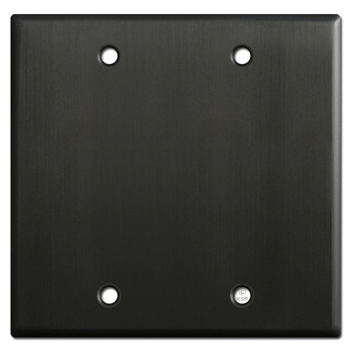 2 Blank Wall Switch Plate Cover - Dark Bronze