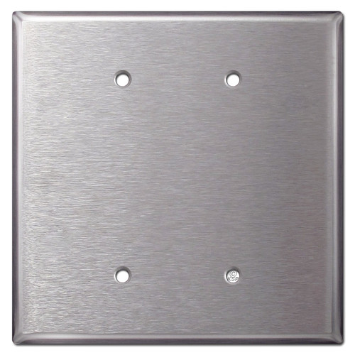 Oversized 2 Blank Jumbo Wall Plates - Satin Stainless Steel