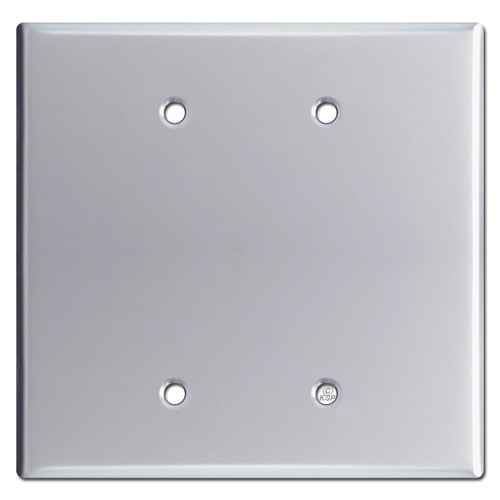 Oversized Double Blank Jumbo Wall Switch Plate - Polished Chrome