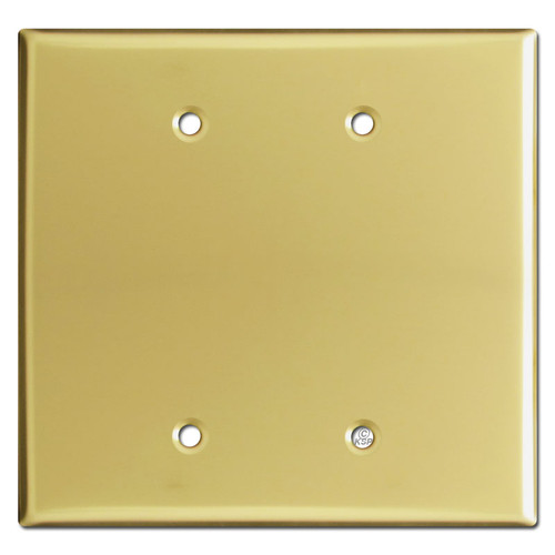 Oversized Two Blank Jumbo Wall Plate Cover - Polished Brass