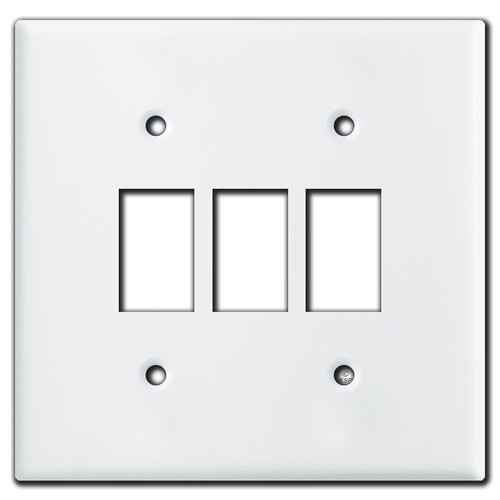 Low Voltage Bracket Mount Wall Switch Plates for 3 GE Switches - White