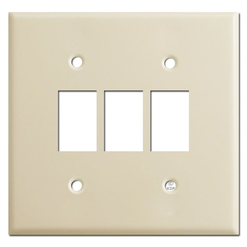 Low Volt Bracket Mount Wall Switch Plates for 3 GE Switches - Ivory