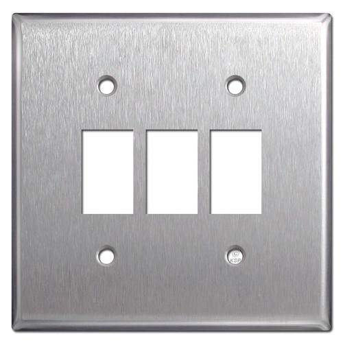 Low-Voltage 3 GE Switch Bracket Mount Wall Plate - Stainless Steel
