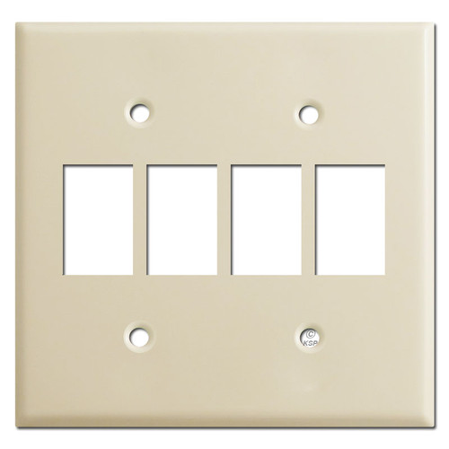 Low Voltage 4 GE Switch Bracket Mount Wall Plate Covers - Ivory