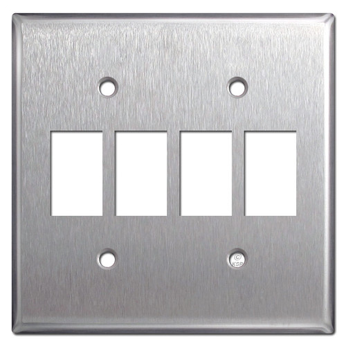 GE Low Voltage 4 Switch Bracket Mount Wall Plate - Stainless Steel