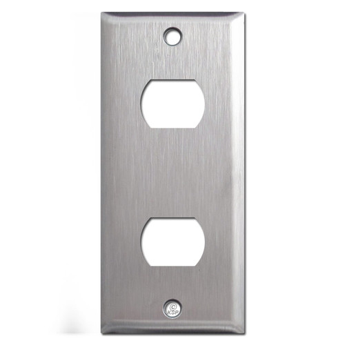 "2"" Narrow Two Despard Stacked Switch Wall Plates - 302 Stainless Steel"