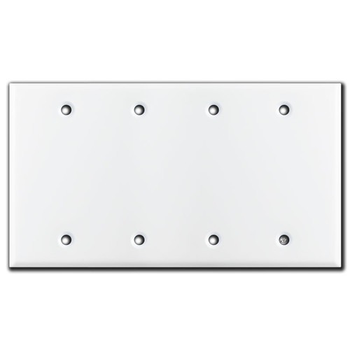 4 or Four Gang Blank Switch Plate Cover - White