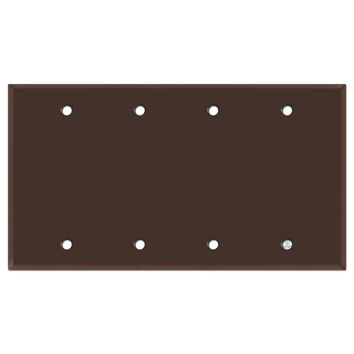 Four Gang Blank Switch Plate Covers - Brown