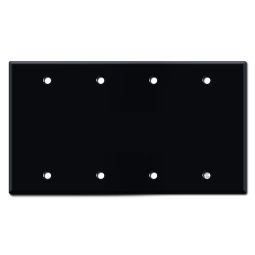 4 Gang Blank Wall Switch Plate Cover - Black