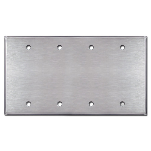 4 Gang Blank Switch Plate Covers - Satin Stainless Steel
