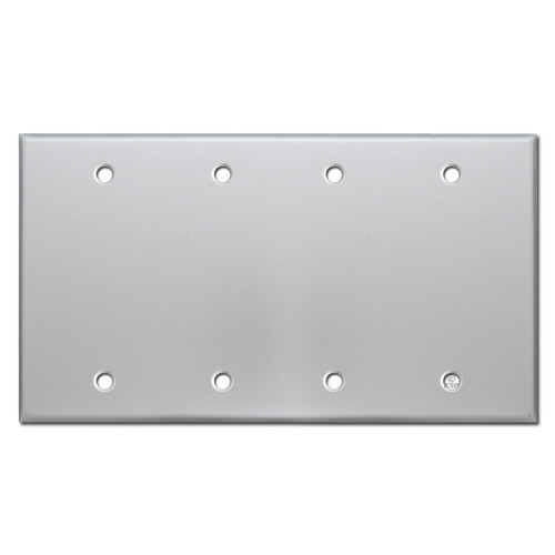 4 Blank Wall Switch Plate Covers - Brushed Aluminum