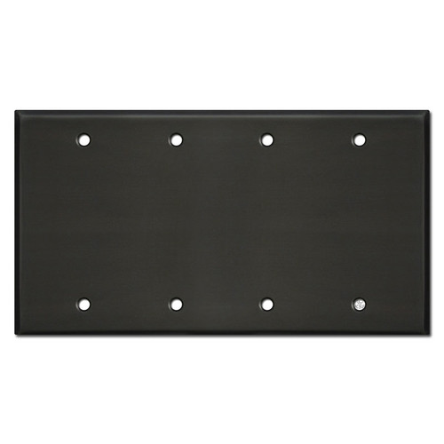 Four Gang Blank Wall Plate Covers - Dark Bronze
