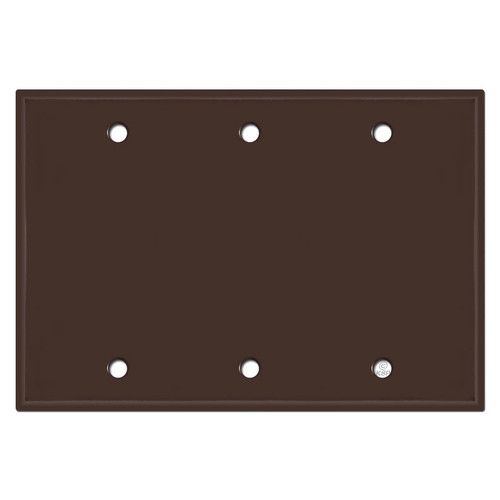 Three Blank Wall Switch Plate Cover - Brown