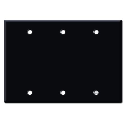 3 Blank Electrical Wall Plate Covers - Black