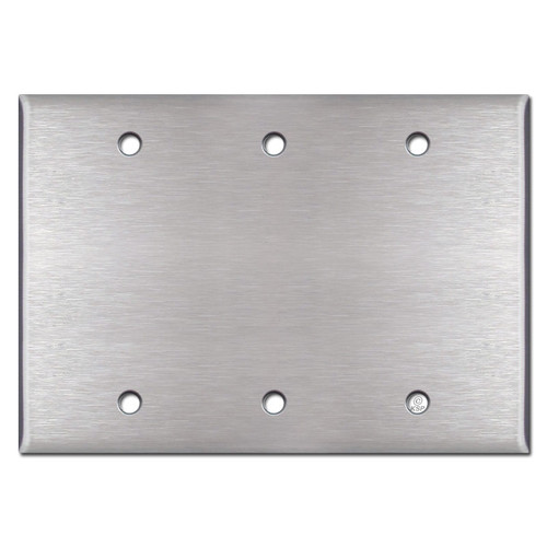 3 Blank Wall Plates - Satin Stainless Steel