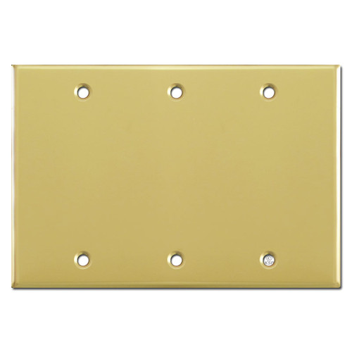 3 Gang Blank Wall Plate Cover - Polished Brass