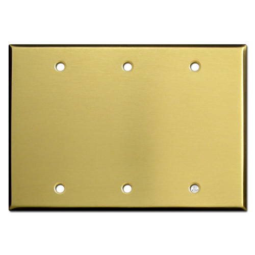 3 Blank Wall Plate Covers - Satin Brass