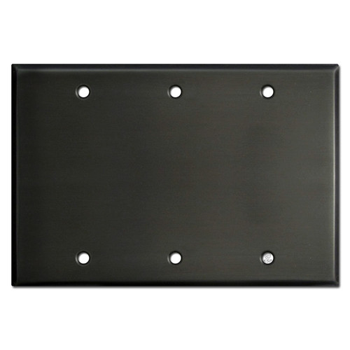 3 Blank Electrical Cover Plates - Dark Bronze