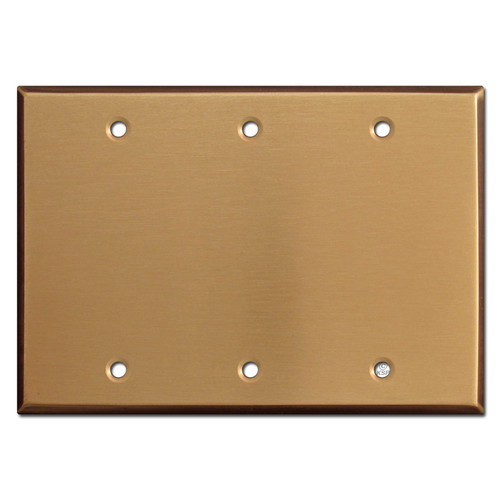 3 Blank Switch Plate Covers - Satin Bronze